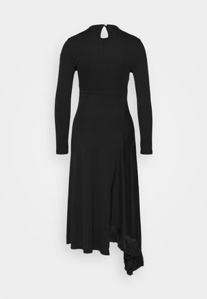 ASYMMETRIC DRESS WITH TASSEL - Vestido ligero - black