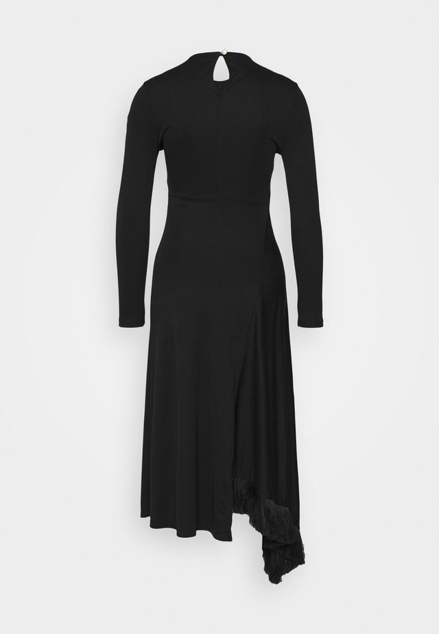 ASYMMETRIC DRESS WITH TASSEL - Robe en jersey - black