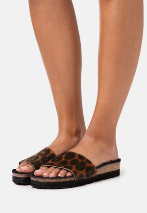 PLAGETTE LEOPARD - Slippers - black