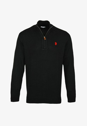 HALF ZIP TROYER - Maglione - schwarz