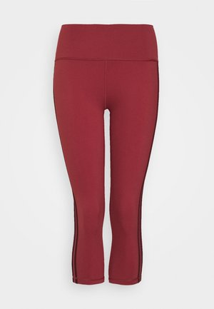 BELIEVE THIS 3 STRIPES LEGGINGS - 3/4 sports trousers - legend red/maroon