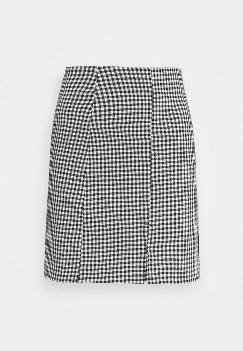 Monki - RENATA SKIRT - Mini skirt - black dark/white