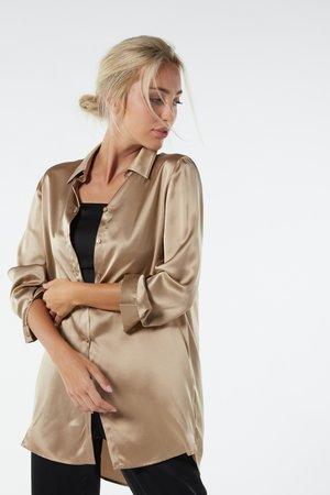 BLUSE AUS SEIDE MIT KLASSISCHER MANSCHETTE - Pyjama top - hautfarben - 375i - natural beige