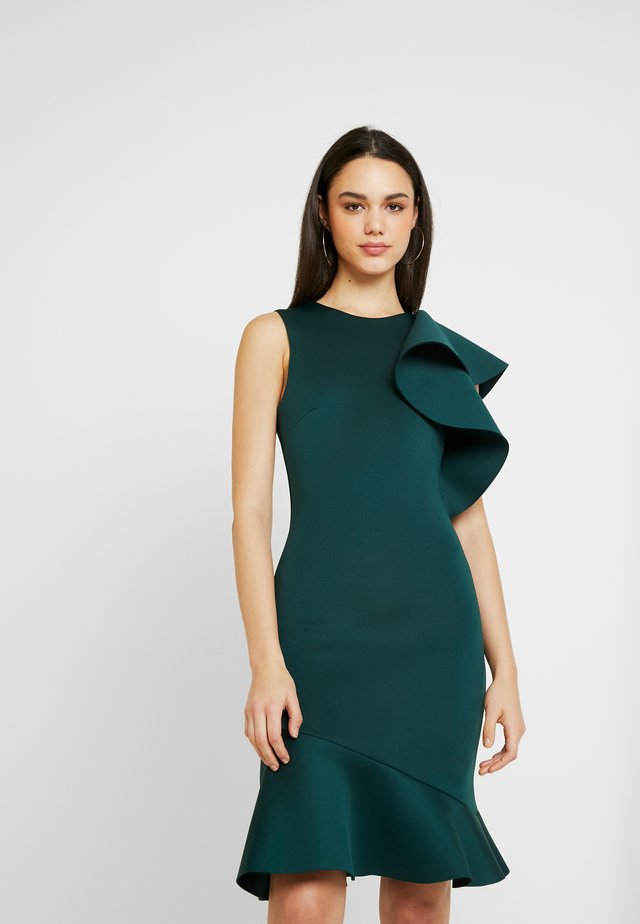 TRUE VIOLET ONE SHOULDER PEPLUM BODYCON DRESS - Cocktail dress / Party dress - emerald