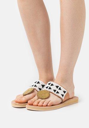HERON  - T-bar sandals - black/white