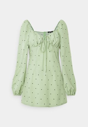 TIE BUST MILKMAID SKATER DRESS POLKA - Blouse - mint