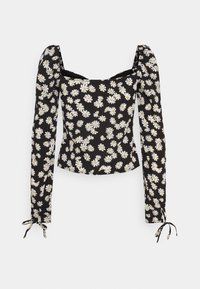 Missguided Tall - TIE CUFF MILKMAID - Long sleeved top - black - 1