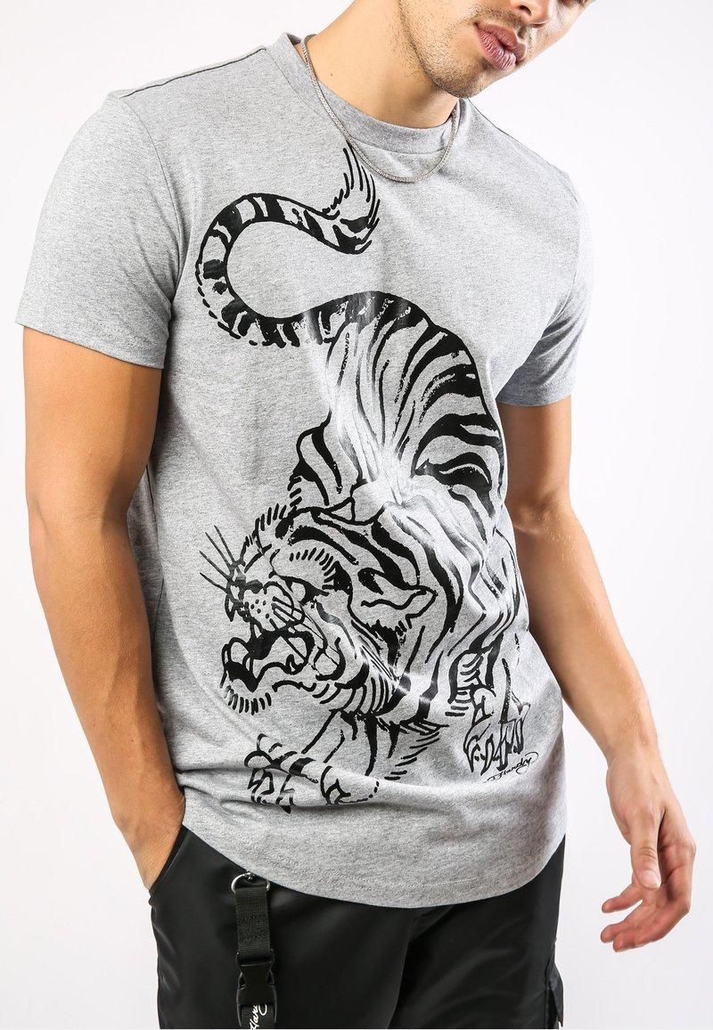 Ed Hardy - TIGER-GIANT T-SHIRT - Print T-shirt - grey marl