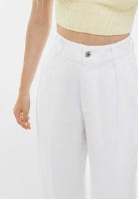 Bershka - Trousers - white - 3