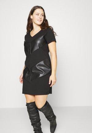 CARVIOLA FAUX LEATHER MIX DRESSOTW - Denní šaty - black