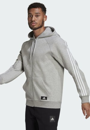 ADIDAS SPORTSWEAR 3-STRIPES HOODED TRACK TOP - veste en sweat zippée - grey