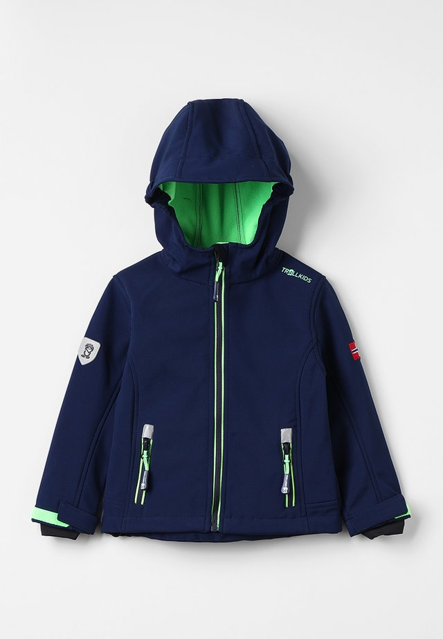 KIDS TROLLFJORD JACKET - Veste softshell - navy/light green