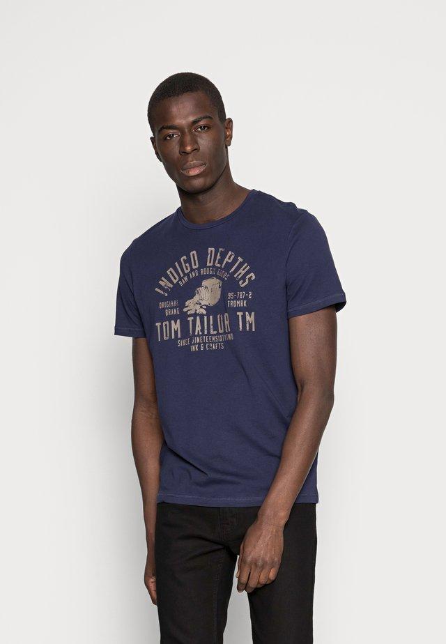 T-shirt print - true dark blue