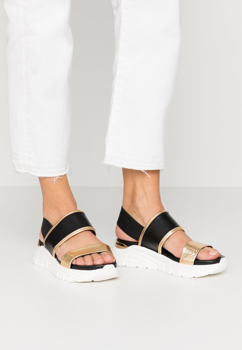 Tosca Blu - PONZA - Korkeakorkoiset sandaalit - nero/platino