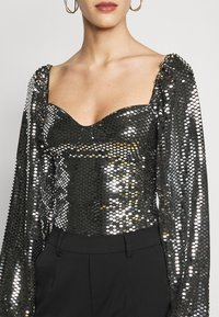 Missguided Tall - FOIL SEQUIN BODYSUIT - Blouse - black - 5
