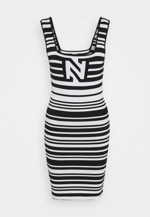 JEAN DRESS - Neulemekko - white/black