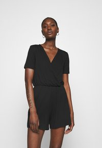 Anna Field - BASIC - SHORT SLEEVES DEEP V PLAYSUIT - Jumpsuit - black - 0