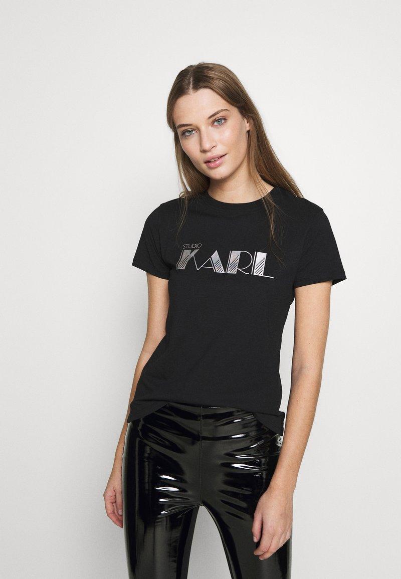 KARL LAGERFELD - 54 LOGO  - Print T-shirt - black