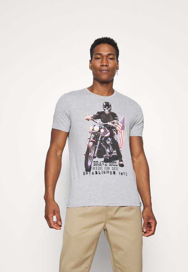 BRANDOX - Print T-shirt - light grey marl