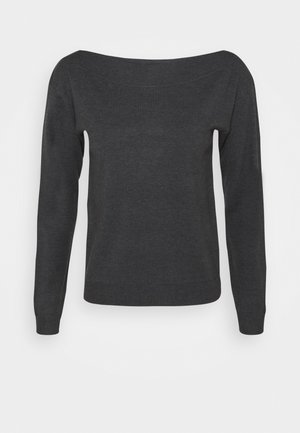 BASIC- boat neck jumper - Jumper -  mottled dark grey