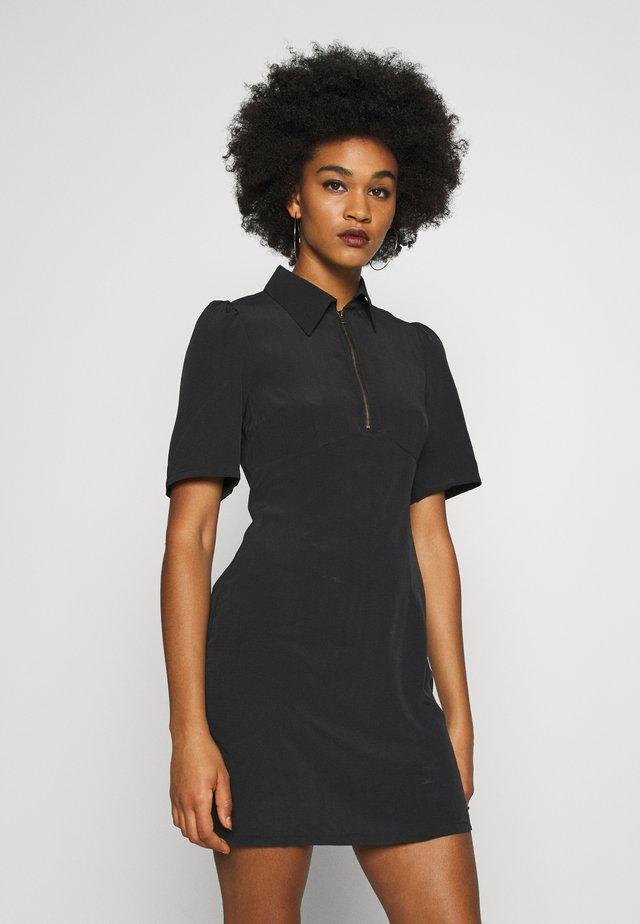 ZIP FRONT MINI DRESS - Korte jurk - black