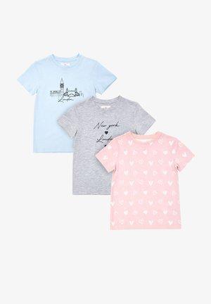 POPPY - T-shirt print - blue xgrey marl x pink