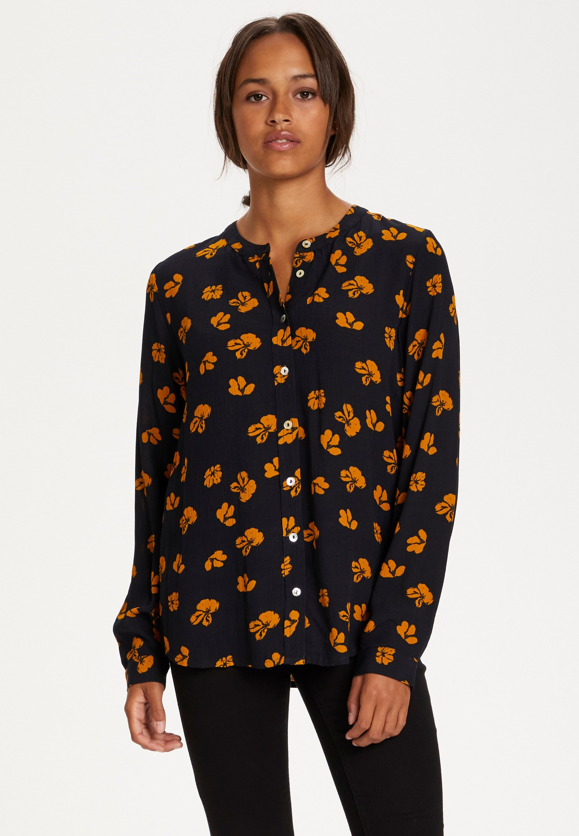 Kaffe KAAUBITTE - Blouse - black w. yellow flower - Dameskleding Uniseks