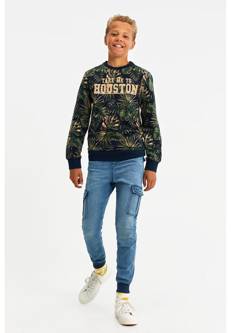 WE Fashion - MET NEONKLEURIG DESSIN - Langærmede T-shirts - dark blue