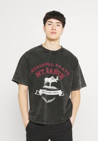 Jaded London - WASHED REGIONAL STATE - T-shirt con stampa - black - 0