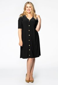 Yoek - SHORT SLEEVE - Shirt dress - black - 1