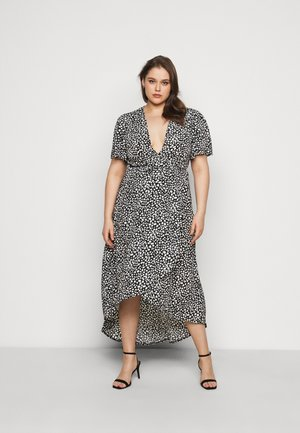HIGH LOW MIDI DRESS DALMATIAN - Maxi dress - black