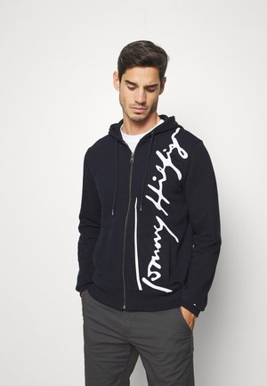SIGNATURE HOODED ZIP THROUGH - veste en sweat zippée - blue