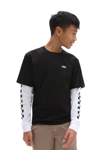 BY LONG CHECK TWOFER - Long sleeved top - black