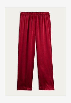 LANGE HOSE AUS SATIN UND SEIDE - Pyjama bottoms - rosso