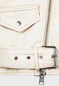 AllSaints - OVERSIZED DENIM BIKER - Denim jacket - white - 5