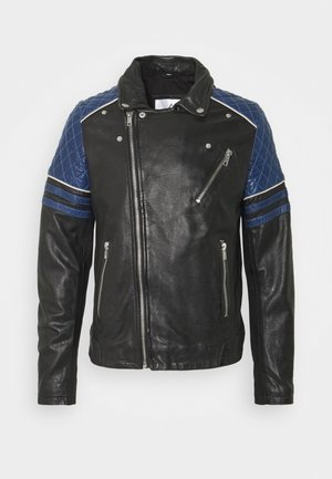 BENNY - Leather jacket - black/atoll