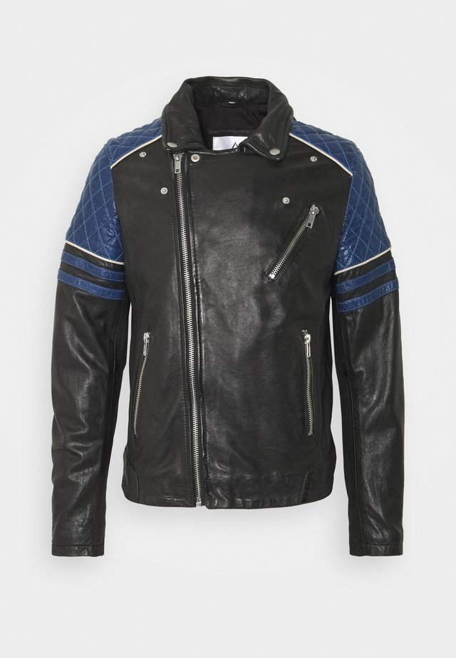 BENNY - Leather jacket - black/atoll