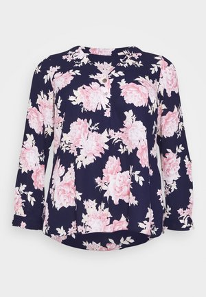 FLORAL ROLL SLEEVE - Blůza - navy
