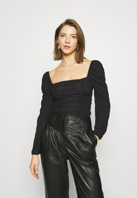 Nly by Nelly - SHEER TOUCH TOP - Long sleeved top - black - 0