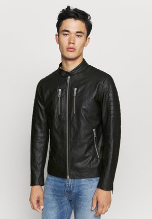 BIKER COAT - Faux leather jacket - black