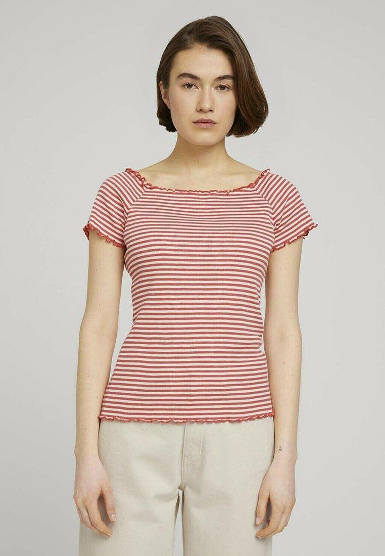 TOM TAILOR DENIM - CARMEN - Print T-shirt - coral white stripe