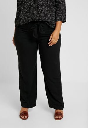 BELTED TROUSERS - Kalhoty - black