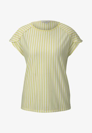 RELAXED STRIPED TEE - T-shirt imprimé - yellow white vertical stripe