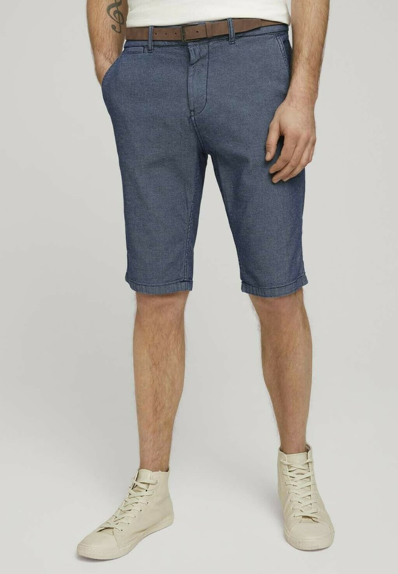 TOM TAILOR - Shorts - blue indigo structure