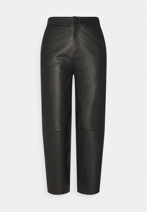 OBJVIOLA - Leather trousers - black
