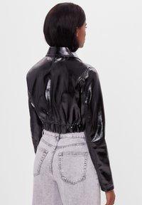 Bershka - VINYL - Leather jacket - black - 2