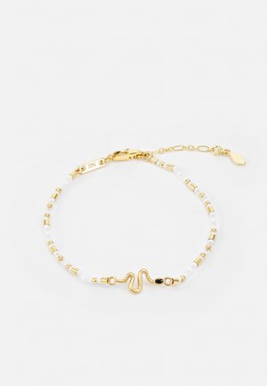 BEADED BRACELET WITH CHARM - Bracciale - gold-coloured/white