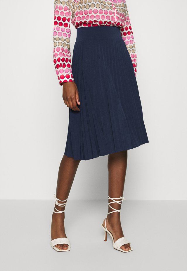 Plisse A-line mini skirt - A-line skirt - maritime blue