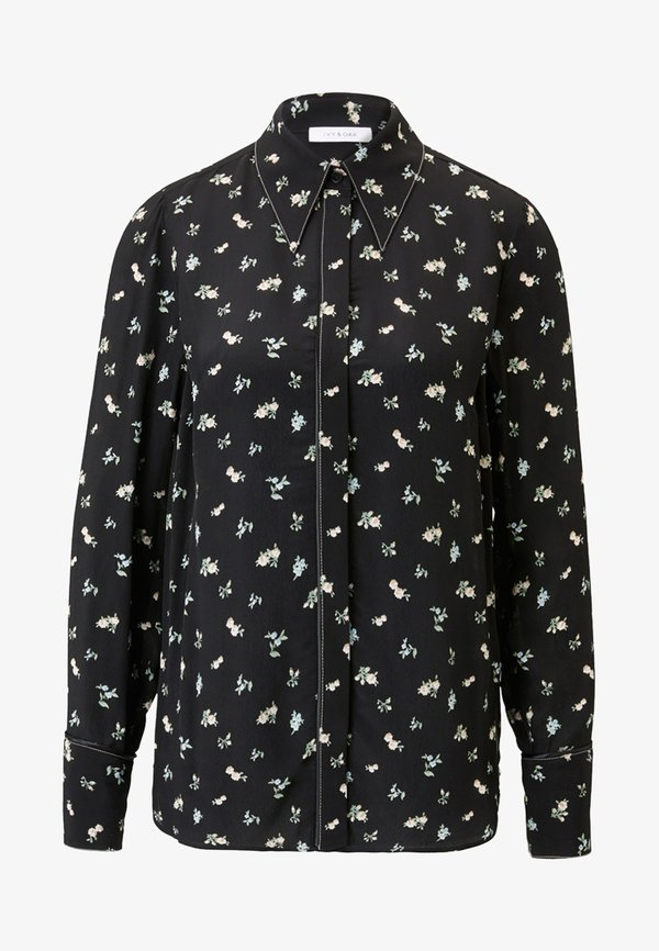 IVY & OAK MIT FLORALEM PRINT - Koszula - black/czarny LWLQ