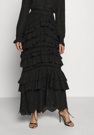 LOLA RUFFLE SKIRT - Maxi skirt - black